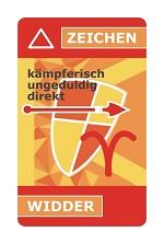 astroCard Tierkreiszeichenkarte Widder zur Erklärung der aktuellen Konstellationen.